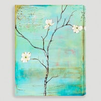 """Dogwood on Turquoise II"" by Laura Gunn - World Market"