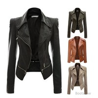 Gerori Faux Leather Slim Fit Coat