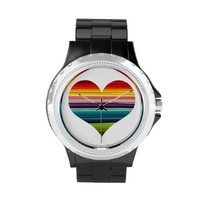 Rainbow Colored Heart Design Multicolor Stripes Wrist Watches