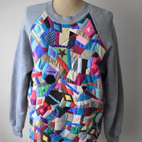 Vtg DIY Couture Hand-Made Patchwork Sweatshirt // Suede Leather, Silk, Upcycled // One of a Kind Hip Hop Pop Art Abstract Fashion // Sz L