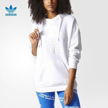 """""""Adidas"""" Women Sport Casual Solid Color Letter Clover Loose Long Sleeve Hooded Sweater Pullover Sweatshirt"""