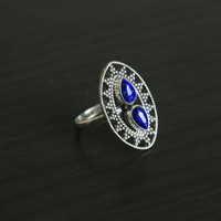 Lapis Lazuli Ring Oval in 925 Silver, US size 6
