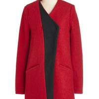 ModCloth Vintage Inspired Long Long Sleeve Golly Gee-ometric Coat in Red