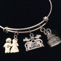 Just Married Silver Expandable Charm Bracelet Wedding Gift Cake Couple Adjustable Wire Bangle Shower Bridal Trendy