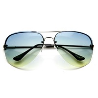 Retro 1980's Rimless Metal Aviator Sunglasses 9481