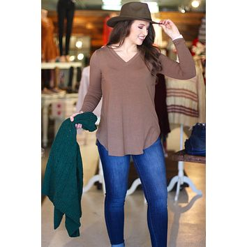 {Mocha} Best Basic V-neck Long Sleeve Tunic Top