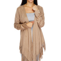 Autumn Suede Fringe Cardigan - Tan