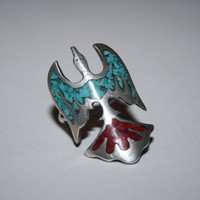 Large Phoenix Sterling Silver with Coral Red and Turquoise Stones Ring Vintage Sterling Silver Ring Size 6.5 - free ship US