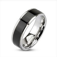 Brushed Black IP Center Band Men's Ring 316L Stainless Steel