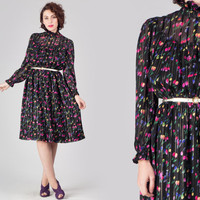 70s Black Tulip Print Dress / Sheer Floral Pintuck Dress / High Collar Garden Print Medium M Party Cocktail Dress