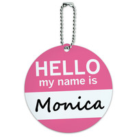 Monica Hello My Name Is Round ID Card Luggage Tag