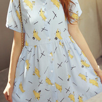 Banana Print Button Up Dress