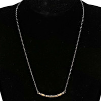 Silver & Gold Wire Wrapped Tanner Bar Pendant Necklace