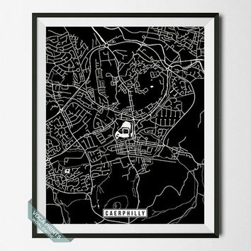 Caerphilly Print, United Kingdom Poster, Caerphilly Poster, Caerphilly Map, South Wales, Street Map, Office Decor, Wall Art