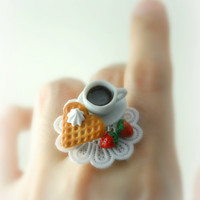 Love Waffle and Hot Cocoa Ring Food Jewelry by DIVINEsweetness