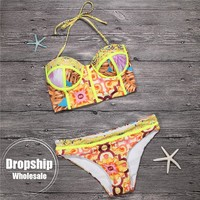 2018 Retro Print Women Bikini Set Flower Push up Bikinis Underwire Top+High Waist Bottom Summer Swimming Ethnic Bathing Swimwear