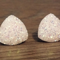 Druzy earrings-  Triangle iridescent opal white druzy earrings