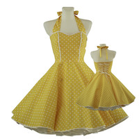 50's vintage dress sweet heart design yellow white polka dots Tailor Made after your measurements