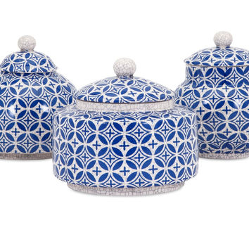 Mediterranean Decorating Ideas Blue and White Geometric Jar Lidded Boxes  - Set of 5 | Free Shipping