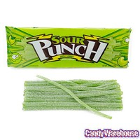 Sour Punch Straws 4.5-Ounce Trays - Apple: 24-Piece Box | CandyWarehouse.com