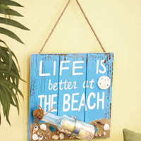 Life Is Better At The Beach Wall Sign Plaque Seashells Nautical Wall Art Decor