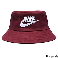 NIKE Stylish Women Men Embroidery Sun Hat Fisherman Hat Cap Burgundy