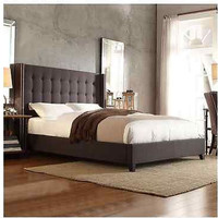 Oueen Upholstered Tufted Button Bed Frame Dark Grey Linen Nailhead Wingback