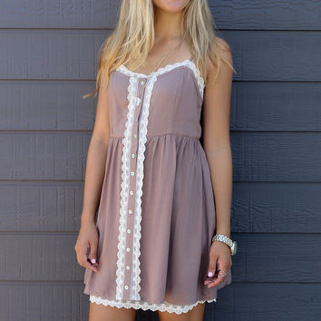 Heaven Sent Mocha Sleeveless Babydoll Button Down Dress With Lace Accents