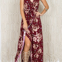 Burgundy Plunge Floral Wrap Front Maxi Cami Dress