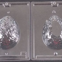 """5 1/2"""" Egg 2 Pc Chocolate Mold Set Cybr Trayd 3D E222 Easter Decorative Candy"""