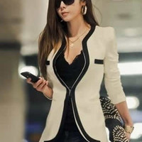 Womens Fashion Korean Style Long Sleeved Slim Sexy Casual White Suit (S/M/L/XL) = 1929678660