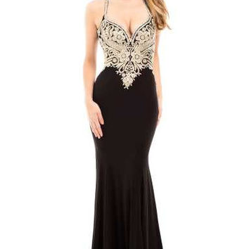 JOHNATHAN KAYNE 7081 Gold Lace Applique Jersey Stretch Prom Dress