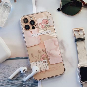 Pale Pink Aesthetic Line Art Collage Clear Phone Case