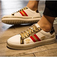 VERSACE Newest Fashion Men Casual Flats Sport Shoes Sneakers White