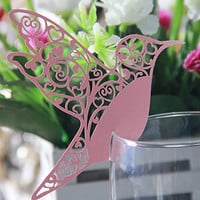 Kuke 50 Laser Cut Lady Lip Pink Cute Bird Shape Wedding Table Place Cards Wine Glass Cards Party Decoration Favor (Pink)