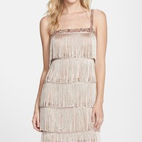 Women's Aidan Mattox Tiered Fringe Flapper Cocktail Dress,