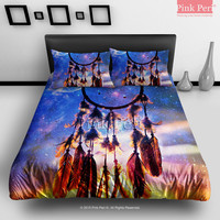 Dream catcher and Sunset Clouds with Galaxy Nebula Bedding Sets Home Gift Home & Living Wedding Gifts Wedding Idea Twin Full Queen King Quilt Cover Duvet Cover Flat Sheet Pillowcase Pillow Cover 061