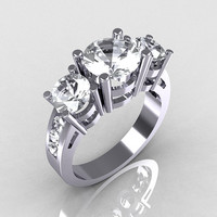 Modern 10K White Gold Three Stone 2.25 Carat Total by artmasters
