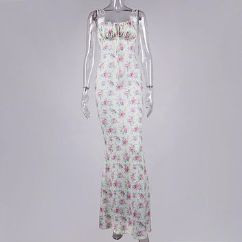 Cryptographic Floral Print Cottagecore Elegant Sleeveless Maxi Sundress Sexy Backless Women Party Club Tie Front Dress Holiday