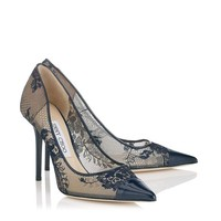 Navy Lace and Patent Pointy Toe Pumps | Amika | Pre Fall 14 | JIMMY CHOO Shoes