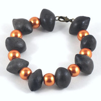 Charcoal Ceramic Beaded Bracelet Accented with Orange Gold Coloured Beads Jewelry Gift MADE TO ORDER