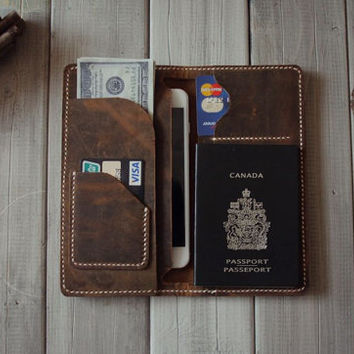 35% off Leather iPhone 6 Case, Leather Wallet, Air ticket organizer, Passport Case Sleeves, Credit card Case - CPS hand punched and stitched
