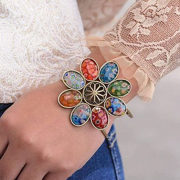 Italian Millefiori Glass Candy Flower Bracelet