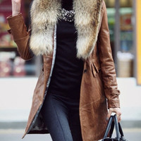 Brown PU Leather Jacket Coat with Raccoon hair slimming Autumn Winter