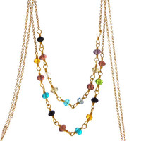 Layer Necklace, Multicolored Faceted Quartz and Gold Hand Twisted Rosary Style Chain Necklace