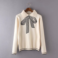 Bow Pattern Pullover Peter Pan Collar Knitted Sweater