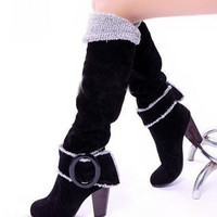 Snow Boots Big size 34-43 Square High Heels Knee High Winter Shoes for Women Sexy Warm Fur Buckle Fashion Boots = 1931688516