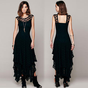 Women Boho Hippie Style Asymmetrical Lace Bodycon Dress Sexy Long Double Layered Ruffled Trimming Low V-Back Dresses