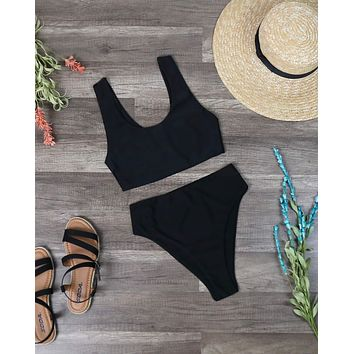 Final Sale - Reverse - Thea High Waisted Sport Bikini Set in Black