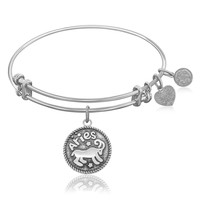Expandable Bangle in White Tone Brass with Aries Symbol